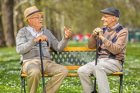 Rentner in der Pflegeversicherung | meine-krankenversicherung.de - Zwei Senioren sprechen miteinander im Park